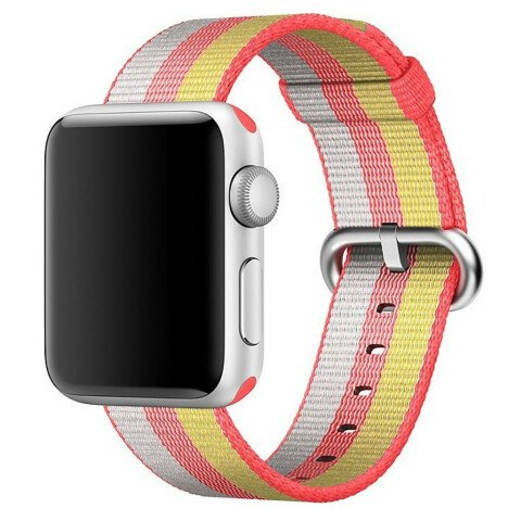 Curea iUni compatibila cu Apple Watch 1/2/3/4/5/6, 40mm, Nylon, Woven Strap, Rainbow